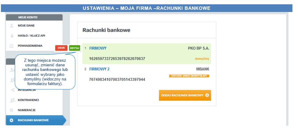 ustawienia rachunku bankowego